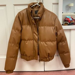 Brown Faux Leather Puffer Jacket